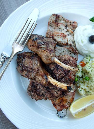 griechisches Essen Lammteller